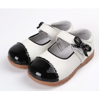 MJ Black and white girl leather shoes
