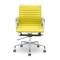 Aluminium Leather Office Chair in Yellow - Eames Replica