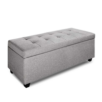 Faux Linen Ottoman Storage Foot Stool Large Light Grey