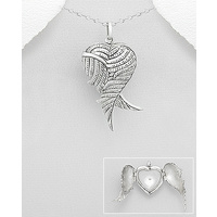 Heart locket sterling silver pendant with angel wings