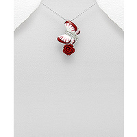 Butterfly and rose - Sterling silver coloured enamel pendant decorated with CZ stone
