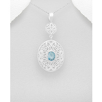 Swirl classic design - sterling silver pendant with sky-blue Topaz