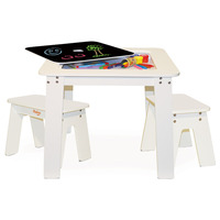 P'kolino Chalk Table and Benches (White)
