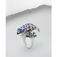 Birdy - Blue Saphire Sterling Silver Ring decorated with colored enamel
