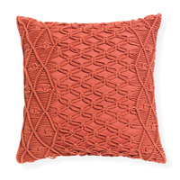 Sonny - 43x43cm Knife Edged, Macramé  Cotton Cushion by Rapee [Colour: Paprika]