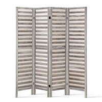 Artiss 4 Panel Foldable Wooden Room Divider - Grey