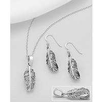 Feathery - Earings and pendant silver set