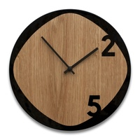 Clock25 - Wooden Wall Clock - Wood and Black