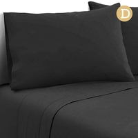 4 Piece Microfibre Sheet Set Double- Black