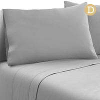 4 Piece Microfibre Sheet Set Double- Grey