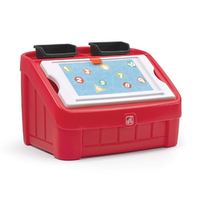 2-in-1 Toy Box & Art Lid - Red