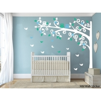Nursery Cot side tree with Owls & Butterflies 220cm Removable wall sticker