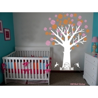 Cot side tree with Fairy door, Fairies & Polka dots 1.8m removable wall decals