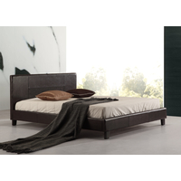Double PU Leather Bed Frame Brown