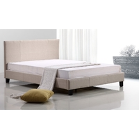 Double Linen Fabric Bed Frame Beige