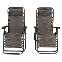 2 x Black Lounge Chairs - Patio Outdoor Garden Yard Beach Caravan