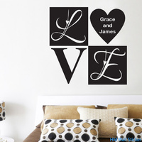 LOVE removable and 2 customised names Wall Sticker Decal