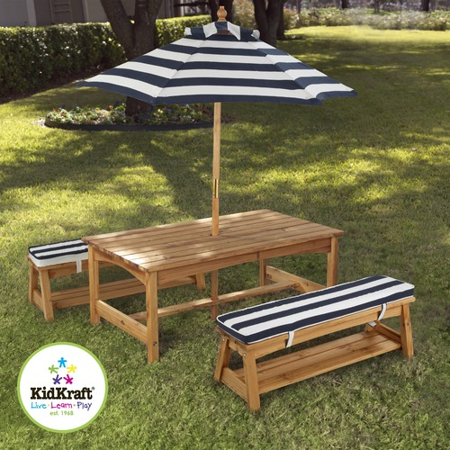 KidKraft Outdoor Table & Bench Set with Cushion & Umbrella - Navy & White Stripes