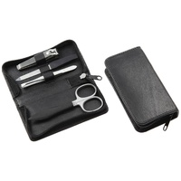 Leather 4 pcs Travel Manicure set in black by Sonnenschein