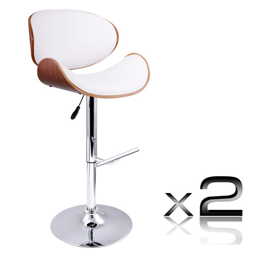 Artiss Set of 2 Wooden PU Leather Gas Lift Bar Stools - Chrome and White
