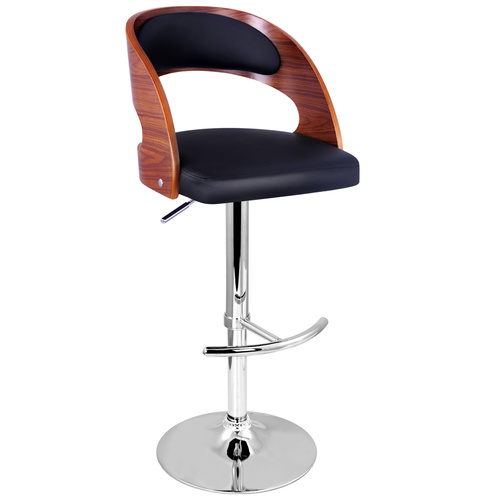 PU Leather Wooden Kitchen Bar Stool Padded Seat - Black