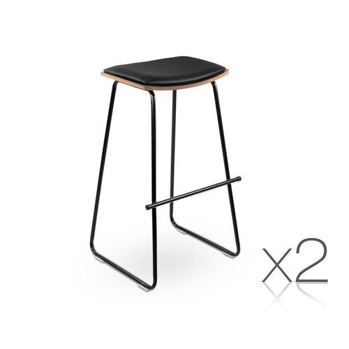 Artiss Set of 2 Backless PU Leather Bar Stools - Black and Wood