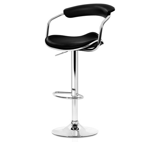 Artiss Set of 2 PU Leather Bar Stools- Chrome and Black