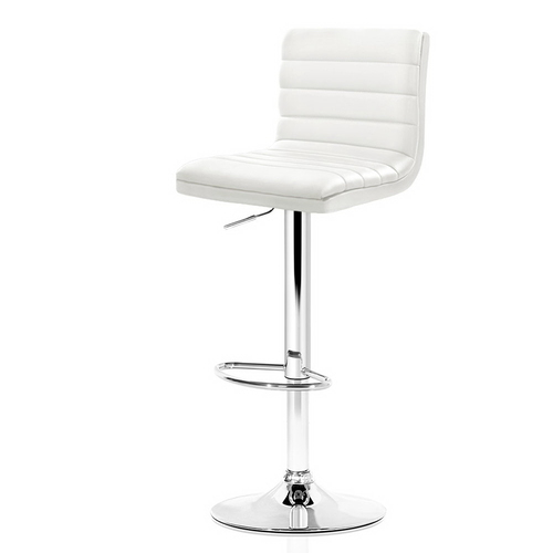 Artiss Set of 2 PU Leather Bar Stools Padded Line Style - White