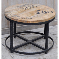 Hardwood Mango and iron Round Coffee Table handmade- NO 208 print