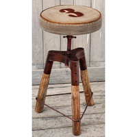 Industrial Wind-up Bar Stool with canvas seat - No 3 print