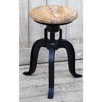 Halo Cast Iron Hardwood mango wind-up Stool