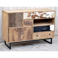 Hardwood Chest of draws with cow-skin pattern and hand carved - The Eastwood