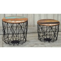 The ACROBALENA - SET/2 Hardwood timber coffee tables