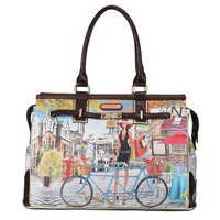 Bicycle print - a day bag by Nicole Lee