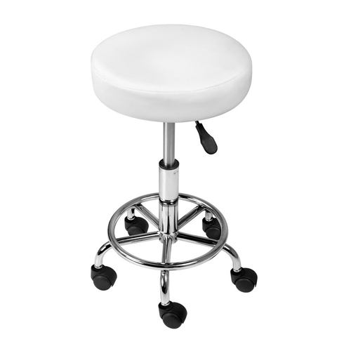 Artiss PU Leather Swivel Salon Stool - White