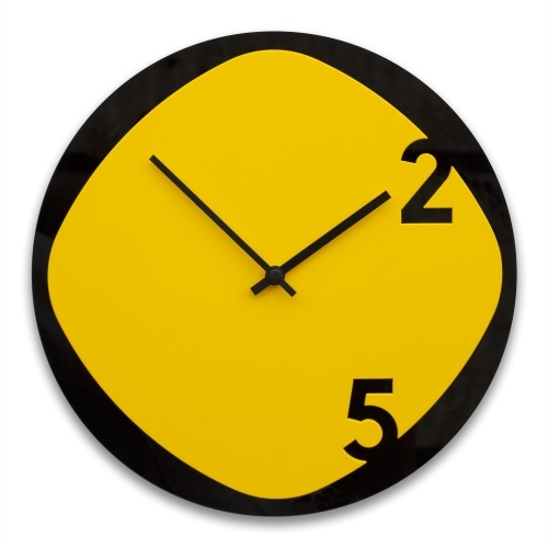 Clock25 - Wooden Wall Clock - Black and Yellow