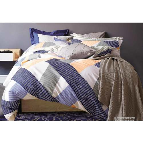 King Size Cotton Blue Orange Striped Quilt Cover Set (3PCS)