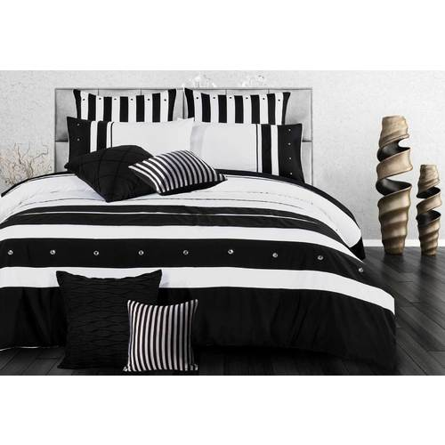 Super King Size Black White Striped Quilt Cover Set(3PCS)