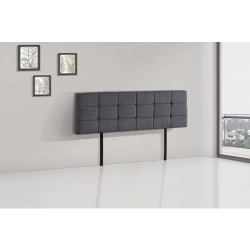 Linen Fabric King Bed Deluxe Headboard Bedhead - Grey