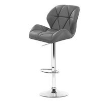 Artiss Set of 2 Bar Stools Gas Lift Kitchen Swivel Chairs PU Leather Chrome Grey