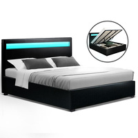 Artiss Cole LED Bed Frame PU Leather Gas Lift Storage - Black King