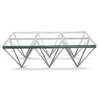 Tafari 1.2m Coffee Table - Glass Top - Silver Stainless Steel Base
