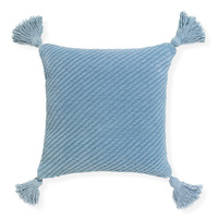 Cradle- 45x45cm textured Chenille cushion with tassels [Colour: Denim]